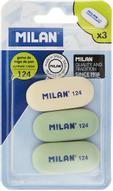 Milan Набор ластиков 124 цвет белый зеленый 3 шт