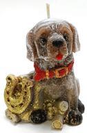 """Свеча декоративная Sima-land """"Собака с подковой"""", цвет: коричневый, высота 7 см"""