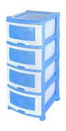 "Комод Violet ""Ромашка"", 4-х секционный, цвет: голубой, 40 х 46 х 94 см"