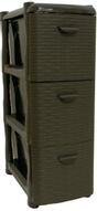 """Комод Idea """"Ротанг"""", цвет: коричневый ротанг, 3 секции, 26,2 х 50,2 х 48 см"""