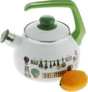 "Чайник эмалированный Metrot ""Травы. Таково"", со свистком, 2,5 л"