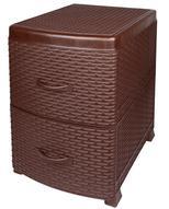 "Тумба Violet ""Ротанг"", 2-х секционная, цвет: коричневый, 38 х 48 х 52 см"