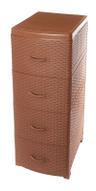 "Комод Violet ""Ротанг"", 4-х секционный, цвет: коричневый, 40 х 46 х 94 см"