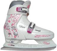Коньки ледовые женские CK Vision, раздвижные, цвет: белый, серый, розовый. Размер 38/41